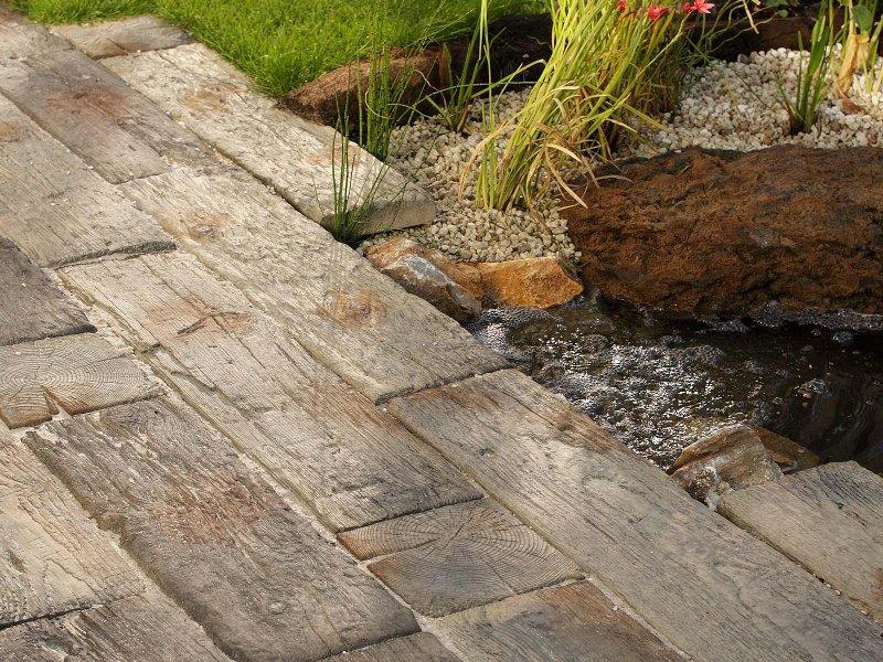 Terrassenplatten  Terassenplatten Nature in Bahnschwellenoptik